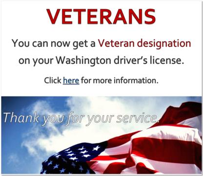 Veteran designation on WA license