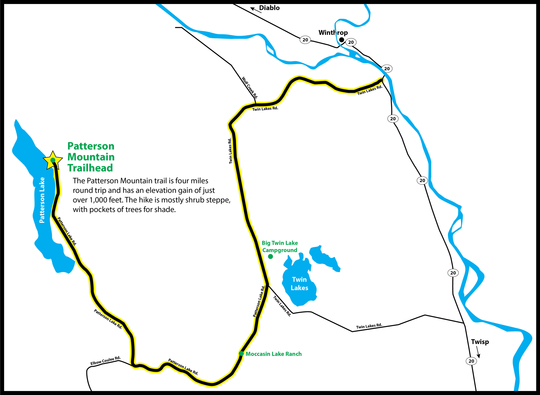 Map of Patterson Mountain trailhead