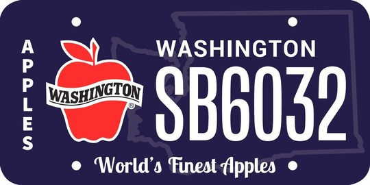 WA apple license plate design