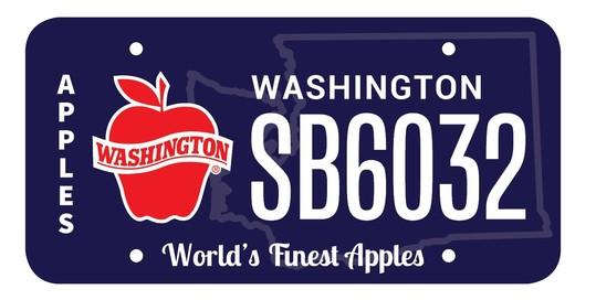 Washington apple license plate design