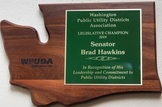 WA PUD Association award plaque