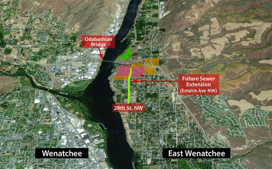 Wenatchi Landing sewer extension aerial map