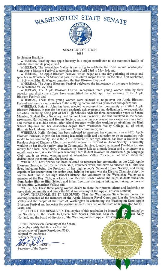 2020 Senate resolution honoring Apple Blossom Festival