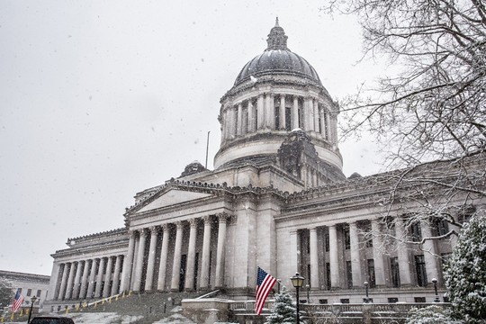 Washington Capitol with snow falling in winter