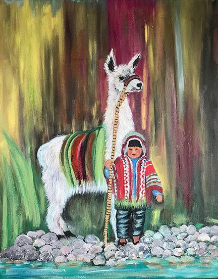 Fresia-Valdivia-Peruvian-child-and-llama