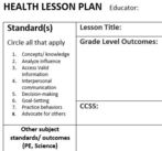 health lesson plan