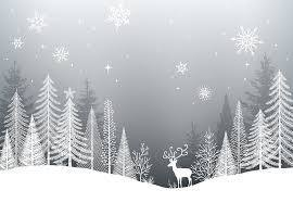Winter scene gray print with white deer and trees