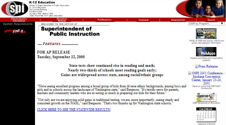 OSPI Website July 2002