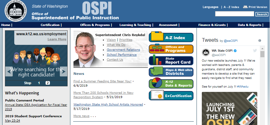 OSPI website 2019