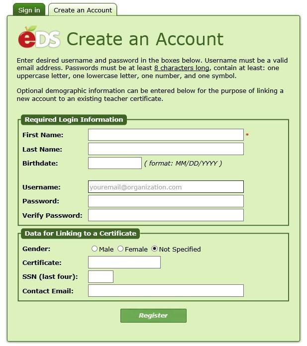 EDS - Create Account
