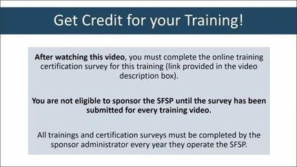 Training Credit Reminder