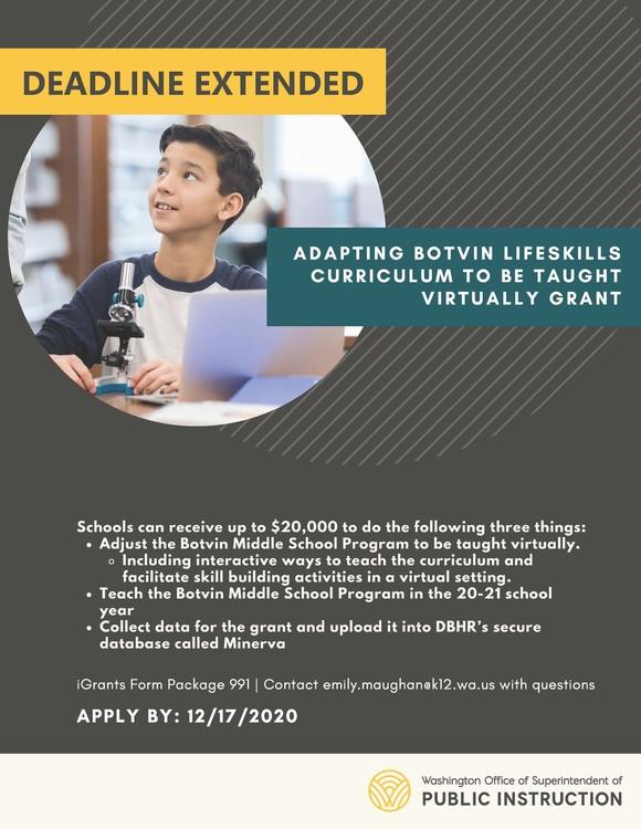 Adapting Botvin LifeSkills Curriculum Grant
