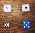 A wich One Doesn't Belong image with four dice