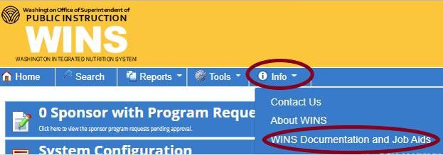 WINS Info Tab Screenshot