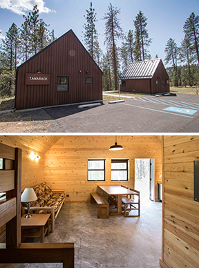 Images of Tamarack and Spruce cabins and an interior photograph -- Riverside State Park