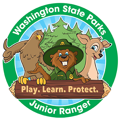 Graphic of Washington State Parks Junior Ranger Program mascots and motto: Play. Learn. Protect.