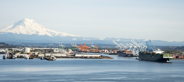 photo of container ship leaving port