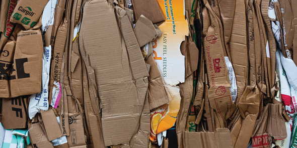Flattened boxes to be recycled