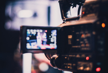 Video camera in use at a studio