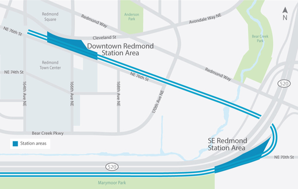 Map of Light Rail Extension in Redmond