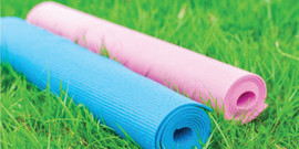 Yoga mats on the grass
