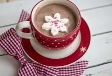 Hot chocolate in holiday mug