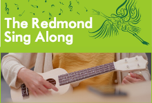 Pic of hands playing ukulele and Redmond Singalong Graphic