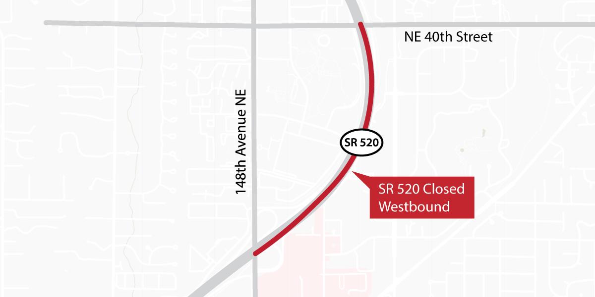 Map showing SR 520 Westbound closure