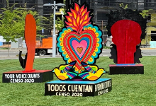Picture of bright colorful painted sculpture in park