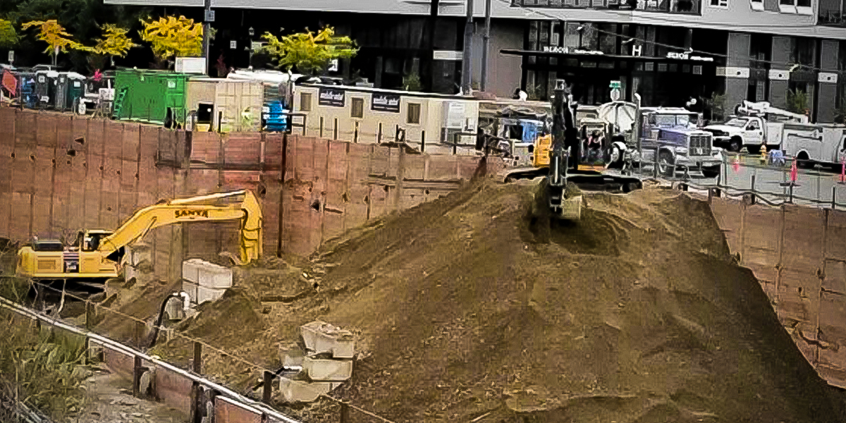 Excavator at project site in Redmond