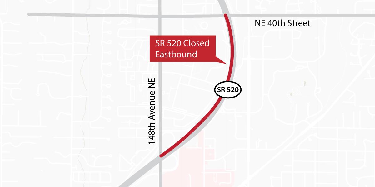 SR 520 Closed Eastbound Map