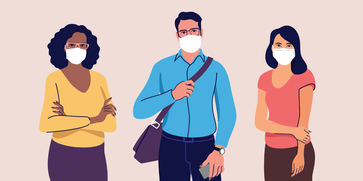Adults wearing face masks