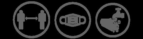 distance, mask and handwash icons - gray V3