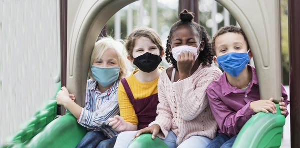 summer camp kids with masks