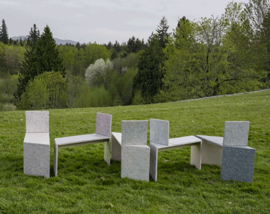 The Drawing Herd benches set up in a park