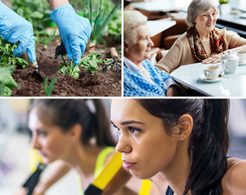 Collage of community members working out, gardening, and talking with friends