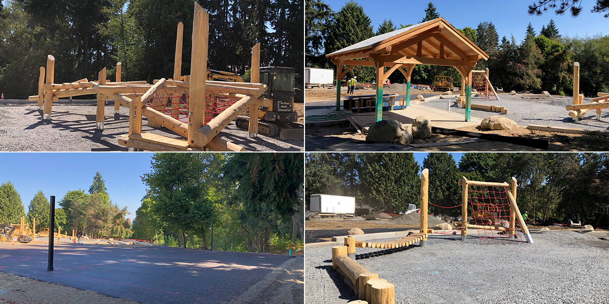 Collage of photos of work in progress for the Westside Park project