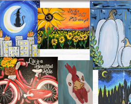 A collage of 6 acrylic paintings