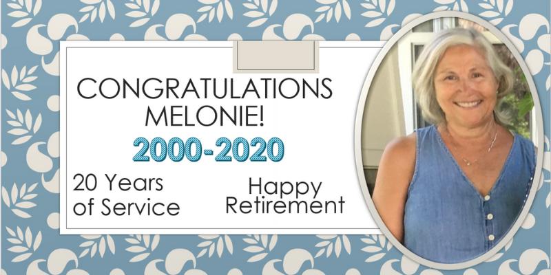 Happy retirement, Melonie!