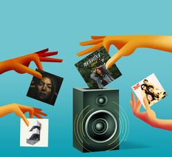 cartoon hands holding album covers