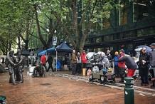 Film shoot in Pioneer Square