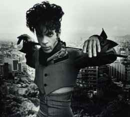 Black and white photo of Prince