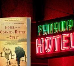 Hotel on the Corner of Bitter and Sweet book cover and neon Panama Hotel sign
