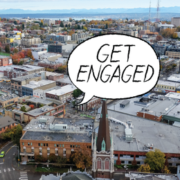 "aerial view of Seattle w/ text bubble that says ""Get Engaged"""