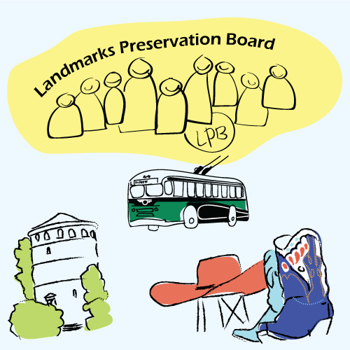 cartoon promoting Landmarks Preservation Board
