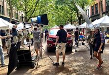 A film shoot in Pioneer Square