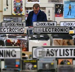 Man browsing at record store