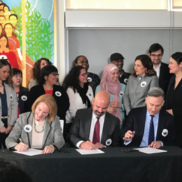 Mayor Jenny Durkan, Seattle Foundation CEO Tony Mestres, and King County Executive Dow Constantine sign paperwork creating the Regional Census Fund
