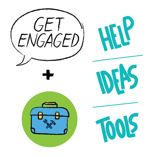 "illustration of a tool box with the words ""Help, Ideas, Tools"""