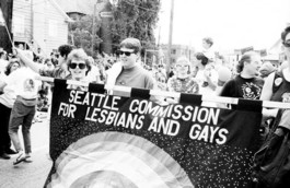Seattle LGBTQ Commissioners participate in a parade in 1993.